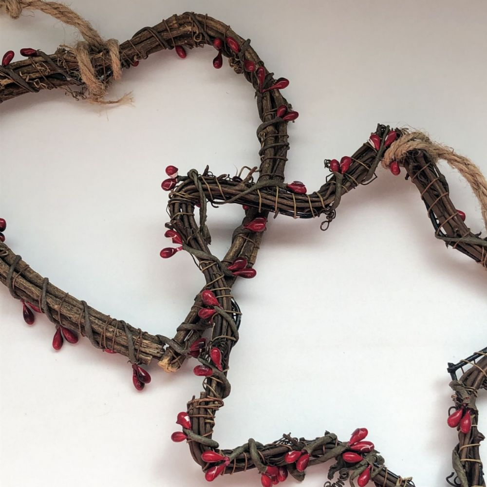 Rattan Star & Heart Wreath Set with Red Berries